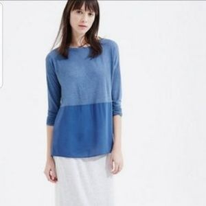 Lou & Grey long sleeve blue knit tiered top